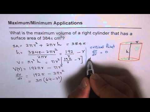 101 Maximum Volume of Cylinder Give Surface Area Application of Derivatives Calculus