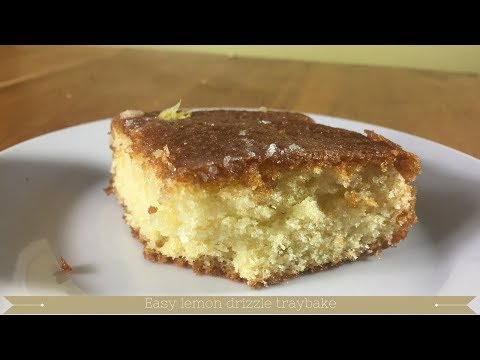 Easy lemon drizzle traybake recipe UK : Moist lemon sponge cake recipe