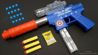 Powerful Gel Ball Bullet Toy Gun - Soft Darts Shooting Pistol Toy | Captain America Mode