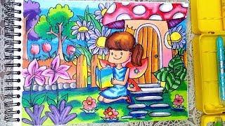 Peri Dan Kebun Bunga Cara Menggambar Dan Mewarnai Dengan Gradasi
