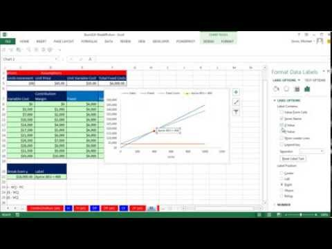 Highline Excel 2013 Class Video 49: Break Even Analysis Formulas & Chart, Plotting Break Even Point