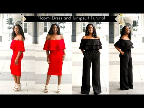 Naomi Off the Shoulder Bodycon Dress and Jumpsuit Tutorial | Preview
