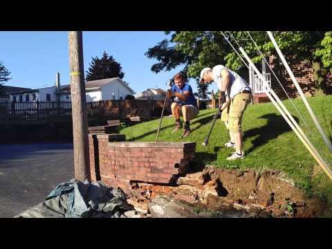 Brick masonry wall demolition for block retaining walls in Hanover PA - Ryan's Landscaping
