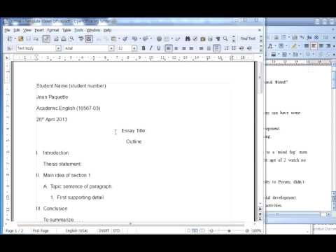 Creating Outline (typing into template - Open Office)