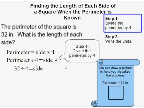 Finding the Length of Each Side of a Square When the Perimeter is Known