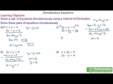 Solving Simultaneous Equations Elimination Method