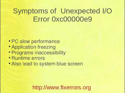 Unexpected IO Error 0xc00000e9 Fix Tool for Windows
