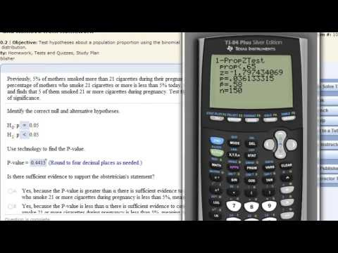 Hypothesis Testing Population Proportion - TI-83  or TI-84 Calculator