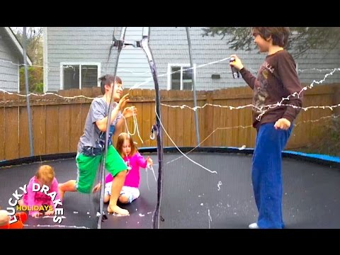 Lucky Drakes ~ kids go shopping, Titus buys Silly String, Light up Balloons trampoline fun!
