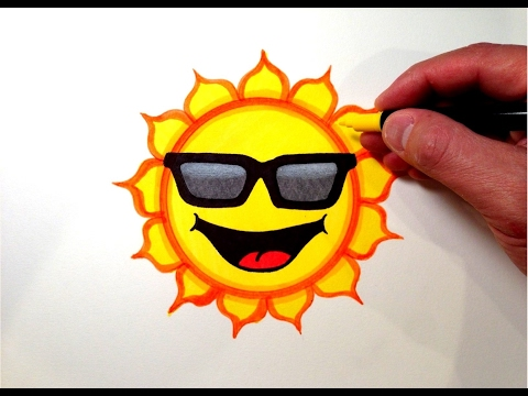 How to Draw a Cool Sun Smiley Face with Sunglasses