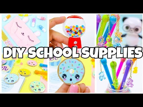BACK TO SCHOOL SUPPLIES! Pencil case bookmarks gum ball machine diy-EASY DIY school supplies