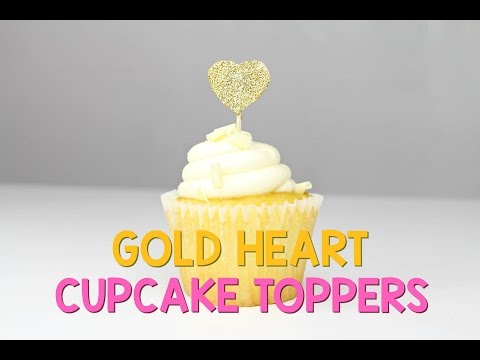 DIY Gold Heart Cupcake Toppers by Yummy Paper