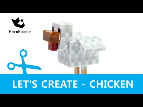 Let's Create - Chicken - Minecraft Paper Model with DOWNLOAD LINK