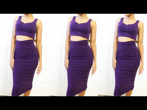 DIY HOW TO MAKE A SKIN TIGHT KNIT CROP TOP AND MIDI SKIRT! KIM KARDASHIAN INSPIRED | SEWING SERIES