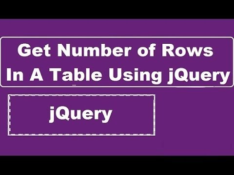 Get Number Of Rows In A Table Using jQuery