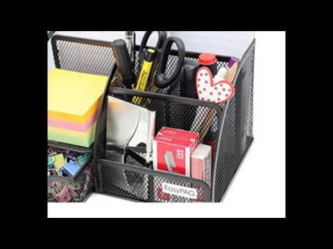 EasyPAG Mesh Desk Organizer 6 Compartment Office Accessories Caddy with Drawer