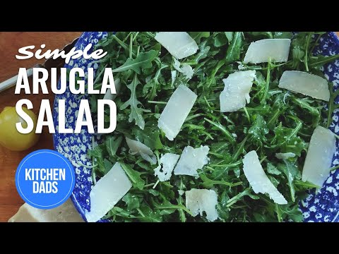 How to Make a Simple Arugula Salad with Olive Oil, Lemon and Parmesan Cheese