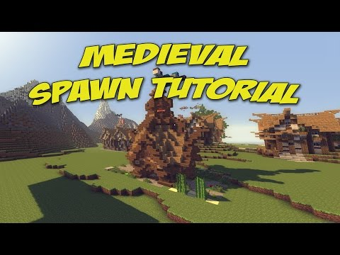 ◄1► Minecraft Tutorial: How To Build A Spawn (Medieval Server) in Survival / Creative Pc/Xbox/Ps3
