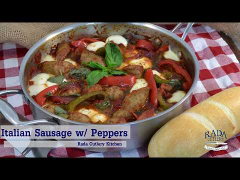 Italian Sausage and Peppers - Healthy Low-Carb Recipe   Rada Cutlery Video