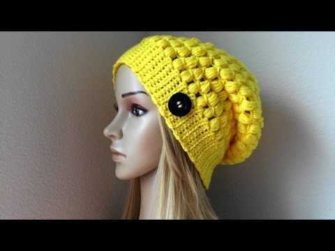 How To Crochet A Puff Stitch Hat, Lilu's Handmade Corner Video # 86