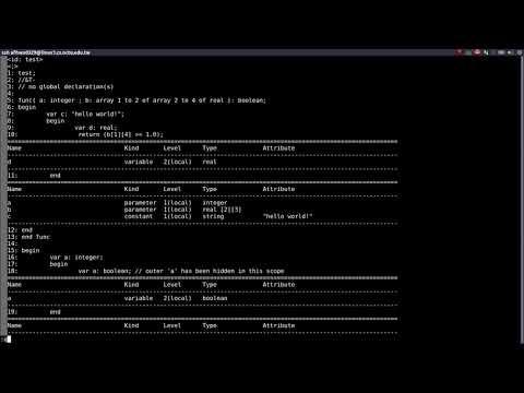NCTU Compiler Design F17 Symbol Table demo test
