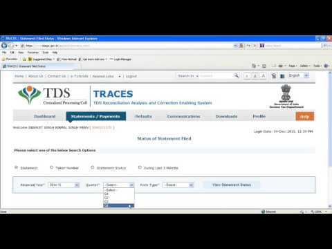 HOW TO VIEW STATEMENT STATUS ONLINE TDS TRACES.GOV.IN