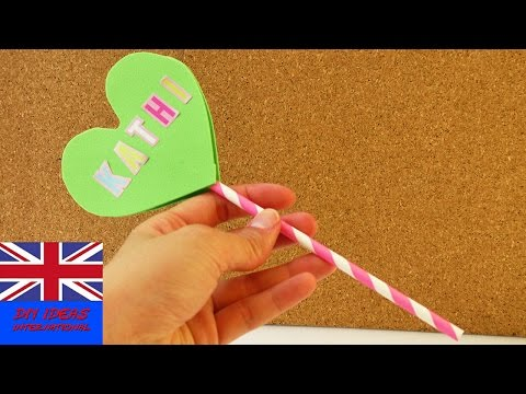 Heart Lollipop as invitation for kids birthday party, as decoration or as a gift