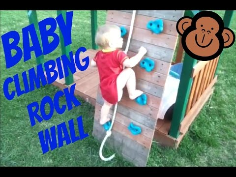 Baby Climbing Rock Wall On Swing Set
