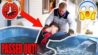 24 HOUR OVERNIGHT CHALLENGE IN A HOT TUB! *GONE WRONG*