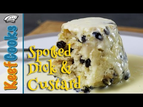 Spotted Dick Suet Pudding and Custard
