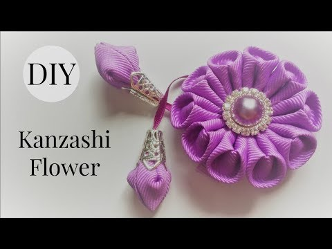 DIY Kanzashi Flower Hair Clip/ Ribbon Flower Tutorial