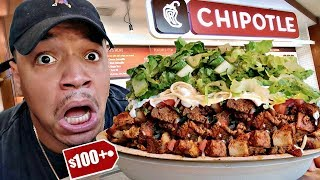 Ordering The MOST EXPENSIVE Chipotle Bowl EVER!! ($100+ Dollars) Impossible Food Challenge