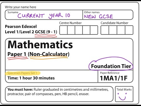 NEW SPEC (9-1) GCSE 2017 Set 1. Paper 1. FOUNDATION. NON CALCULATOR