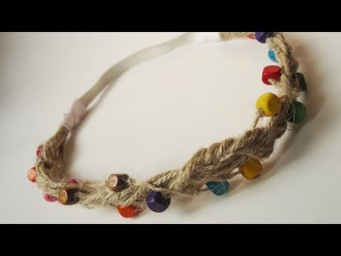 How To Create a Hippie Hemp Cord Beaded Hair Band - DIY Style Tutorial - Guidecentral