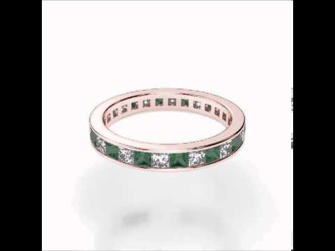 Rose Gold Emerald Diamond Eternity Ring   RGold Emerald Eternity Ring 1133