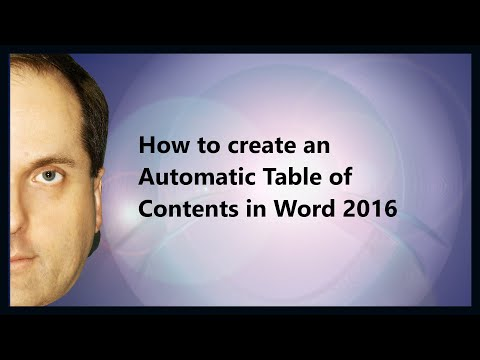 How to create an Automatic Table of Contents in Word 2016
