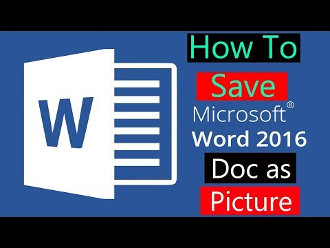 How to save Word 2016 Doc as Picture