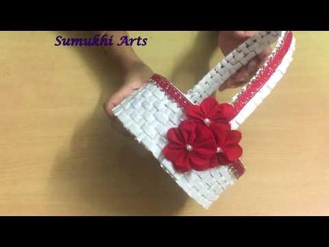 Newspaper Crafts: How to make newspaper flower basket/Gift basket/Christmas gift basket