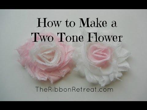 How to Make a Two Tone Shabby Chiffon Flower - TheRibbonRetreat.com