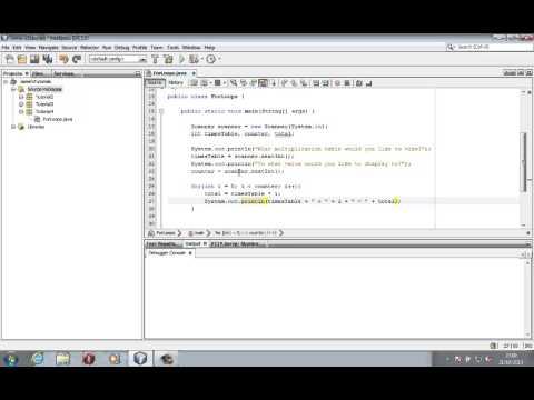Java Tutorial 4 - For Loops - Multiplication Tables Program