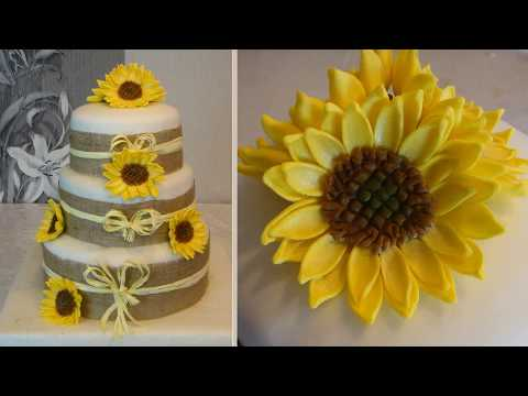 Sunflowers Cake and How to do fondant Sunflower / Flowers Cake