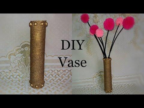 Cardboard Vase   Cardboard Roll Vase Tutorial   Craft Out of Waste   Room Decor   The Blue Sea Art