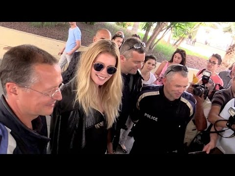 EXCLUSIVE:  Doutzen Kroes and husband Sunnery James arrive at Nice airport for the Cannes festival