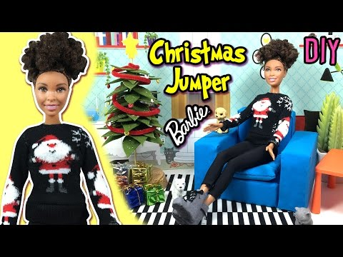 DIY | How to Make Ugly Christmas Sweater / Jumper for Barbie Doll | Christmas Holiday Crafts