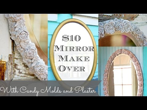 DIY Mirror with Plaster Chalk Type Paint and Cake molds