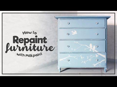 Måla över en lackad möbel med milkpaint - Repaint a lacquered furniture with milk paint!