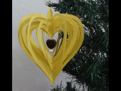 How to make quick and easy paper heart design / Christmas paper ornament