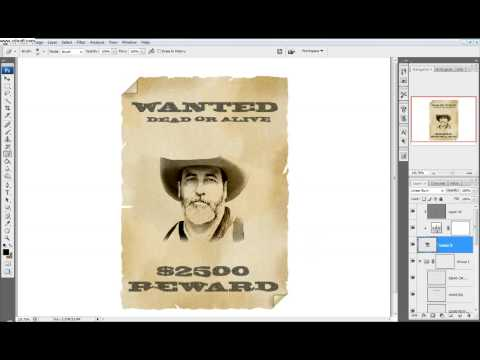 Photoshop Tutorial: Part 3 Make a western style wanted poster