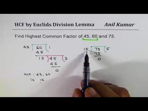 Euclids Division Lemmas for HCF of  45, 60, 75 Three Numbers