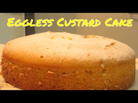 Eggless VANILLA CUSTARD CAKE - Without Microwave Oven